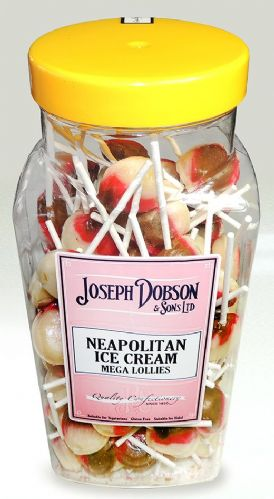 R124  DOBSONS NEAPOLITAN ICE CREAM MEGA  LOLLY